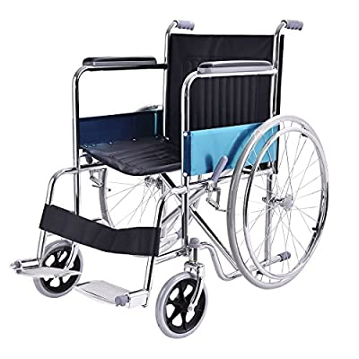 "Giantex 24"" Lightweight Foldable Stainless Steel Transport Wheelchair w/ Swingaway Footrest"