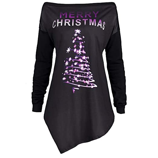 f45c2e1f84e47d Women Christmas Shirt Plus Size Xmas Pullover Hoodies Off Shoulder Christmas  Tree Print Tunic Crop Tops at Amazon Women s Clothing store