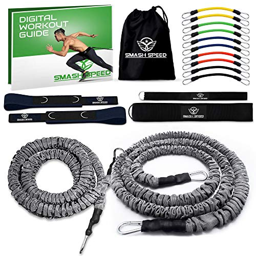 SMASH SPEED Resistance Running Exercise Bungee Bands (Waist) - Set of 2 - Agility, Gym, Fitness, Basketball and Soccer Training Equipment - 4 and 8 Ft, 80 Lb Strength with Speed Bands Set