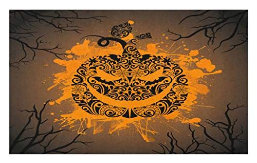 Lunarable Halloween Doormat, Engraved Jack o Lantern with Fire Flame Color Splash Ghost Party Theme Art, Decorative Polyester Floor Mat with Non-Skid Backing, 30 W X 18 L Inches, Brown Orange