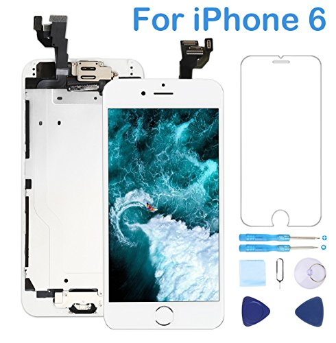 Screen Replacement for iPhone 6 White 4.7 Inch LCD Display Touch Digitizer Frame Assembly Full Repair Kit,with Home Button,Proximity Sensor,Ear Speaker,Front Camera,Screen Protector,Repair Tools