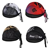 4Pcs/Set Men's Sports Headband Adjustable Motorcycling Biking Dew Rag Skull Caps Head Wrap Chemo Hats Bandanas #1