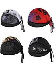 YESURPRISE 4Pcs/Set Skull Cap Quick Dry Adjustable Beanie Cap Bandana Pirate Scarf Head Wraps Dew Rap Sport Hat Cap for Cycling Motorcycle Running 2 Black + Red + Grey