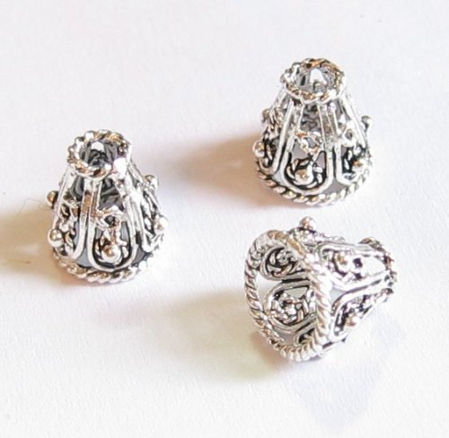 Silver Bali Cone (4 pcs .925 Sterling Silver Bali Filigree Flower Bead Cone Cap 8mm / Findings / Antiqued)