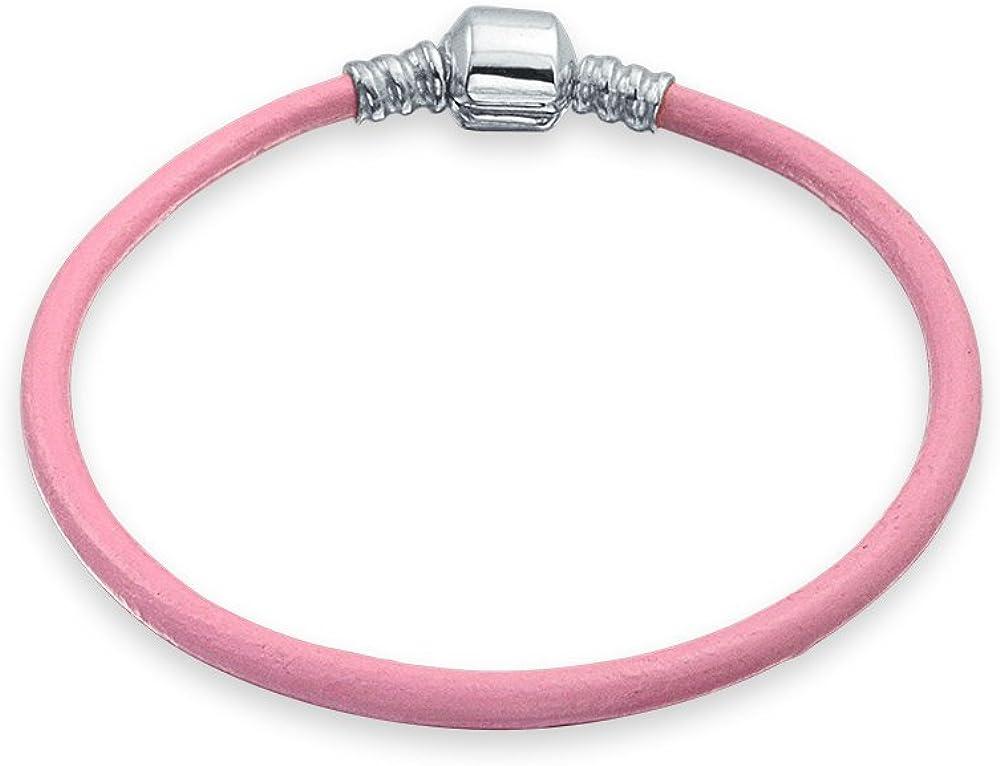 Bling Jewelry Pulsera De Cuero Auténtico Rosa De Mujer Adolescente Cordones Europeos Encanto De Plata Esterlina 6.5 7.5 8