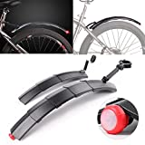 Mountain Bike Fenders Set, Retractable Front Rear Mudguards With Tail Light by Coerni (Grey)