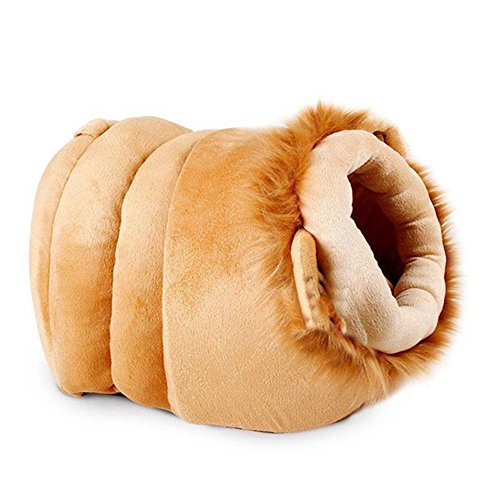 Creation Core Warm Plush Pet Bed House Cute Pet Cave for Small Dogs Cats with Removable Cushion inside, Lion M