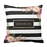 LVYZIHO Custom Beautiful Floral Wrap Gold Frame Elegant Stripes Throw Pillow Cover 20 x 20 Inches Home Decorative Personalized Canvas Cushion Cover Photo Pillow Case Print on Two Side