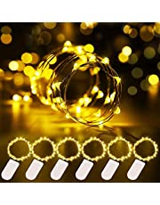 Gove Warm White Fairy String Lights, 3.3ft Battery Powered Waterproof Copper Wire Light with 20 LEDs Both Outdoor and Indoor, Ideal Fairy Lights for Christmas Decoration Patio Party Wedding (6 Packs)
