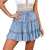 2019 Women Summer Casual Boho High Waist Skirts Ruffled Floral Print Beach A-Line Short Skirt Daily Sexy Skirts (Blue, S)