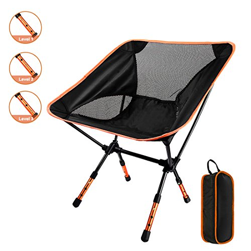 Adjustable Seating - GOSTAR Portable Outdoor Camping Seating Chair with Adjustable Height, Ultralight Folding Backpacking Chairs in a Carry Bag, Support 330 lb Capacity (Orange)