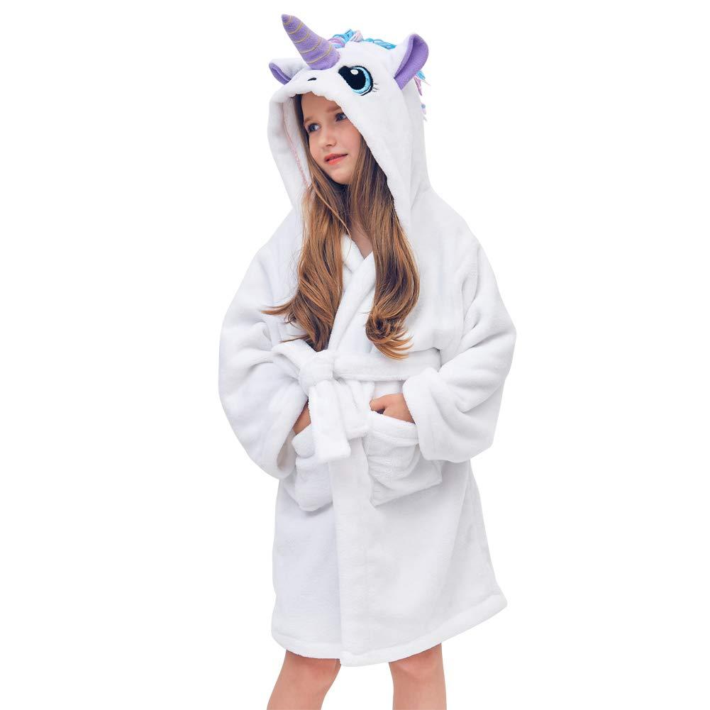 Beinou Unicorn Kids Robe Fleece Bathrobe Terrycloth Sleepwear Long Shower Robe EUL-PJ002-10@#WGJUS