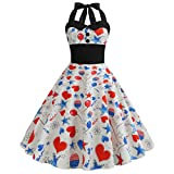FORUU American Flag 4th of July Dresses for Womens, Laides Printed Evening Party Prom Swing Button Halter Hepburn Dress 2019 Office Elegant Summer Best Gift for Wife Business Work Casual Sexy