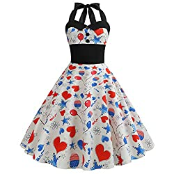 Foruu American Flag 4th Of July Dresses For Womens Laides Printed Evening Party Prom Swing Button Halter Hepburn Dress 2019 Office Elegant Summer Best Gift For Wife Business Work Casual Sexy