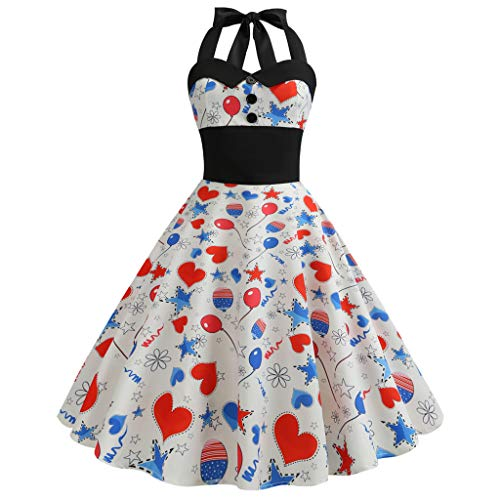 FORUU American Flag 4th of July Dresses for Womens, Laides Printed Evening Party Prom Swing Button Halter Hepburn Dress 2019 Best Gift for Mother Above Knee Empire Under 5 10 15 Dollars