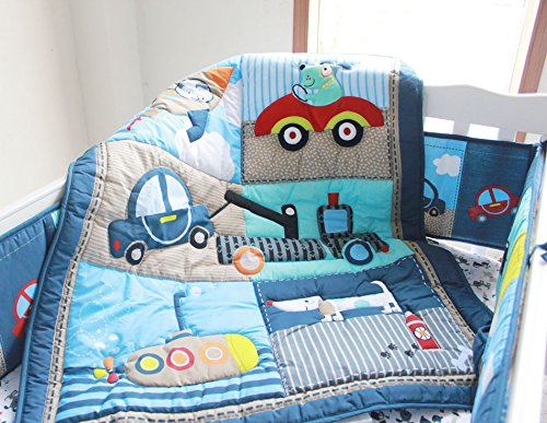 NAUGHTYBOSS Boy Baby Bedding Set Cotton 3D Embroidery Submarine Car Dog Rockets Quilt Bumper Mattress Cover 7 Pieces Blue