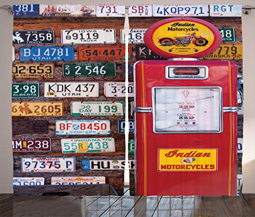 Ambesonne Americana Decor Collection, 2008 Various old American License Plates Behind Antique Gas Pump in Rural Utah Picture, Living Room Bedroom Curtain 2 Panels Set, 108 X 84 Inches, Red Yellow