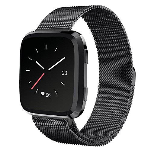 UMTELE For Fitbit Versa Band, Milanese Loop Stainless Steel Wristband Metal Mesh Strap with Unique Magnet Closure for Fitbit Versa, Large, Black