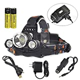 GR Business 9000 Lumens 3x XM-L T6 U2 LED Headlight Outdoor Sport Headlamp USB Output Head Lamp Torch Flashlight with AC Charger Car Charger for Riding Camping Climbing