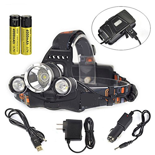 GR Business 9000 Lumens 3x XM-L T6 U2 LED Headlight Outdoor Sport Headlamp USB Output Head Lamp Torch Flashlight with AC Charger Car Charger for Riding Camping Climbing by JoyClan