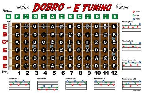 Dobro Fretboard Chart Resonator Guitar Poster - E Tuning ()