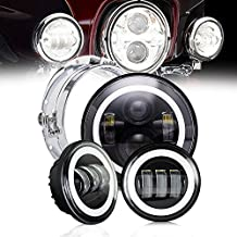 "DOT Projector Daymaker Angel Eye 7In Round LED Headlights With DRL Amber Turn Signal Hi/Lo Beam + 4.5"" Fog Lights For Harley Davidson Road King Ultra Classic Electra Street Glide Yamaha Motorcycle"