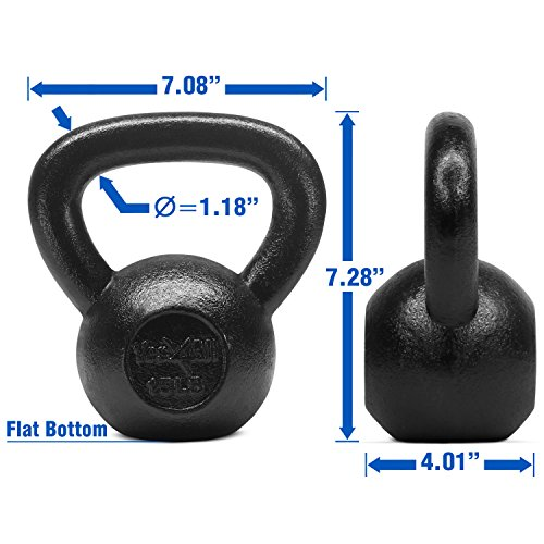 Yes4All Solid Cast Iron Kettlebell Weights Set – Great for Full Body Workout and Strength Training – Kettlebell 15 lbs (Black) by Yes4All (Image #2)