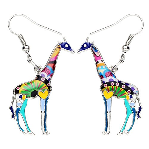 - NEWEI Enamel Alloy African Giraffe Earrings Dangle Drop Fashion Animal Jewelry For Women Girls Gift (Blue)