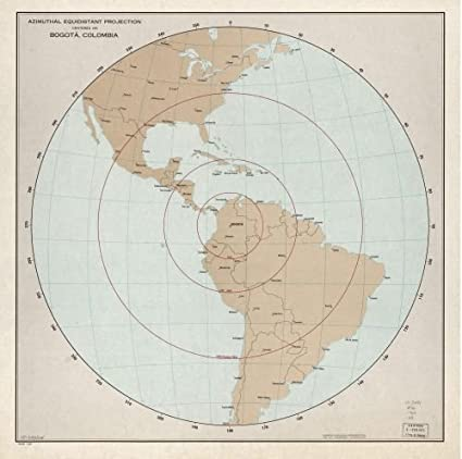 Amazon.com: 1966 Map Azimuthal equidistant projection centered on ...