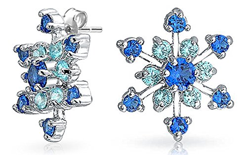 Christmas Holiday CZ Royal Blue Aqua Cubic Zirconia Star Snowflake Stud Earrings For Teen For Women Silver Plated Brass Aqua Cubic Zirconia Star