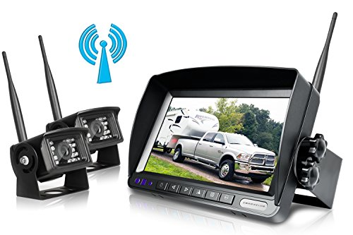 Digital Wireless Backup Camera System Kit,No Interference,IP69 Waterproof Wireless Rear View Camera + 7'' LCD Wireless Reversing Monitor For Truck/Semi-Trailer/Box Truck/RV (W02 - 7 - Accessory Kit Wireless