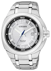 Citizen Marinaut BM0980-51A - Reloj analógico de cuarzo para hombre, correa de titanio color plateado (solar)