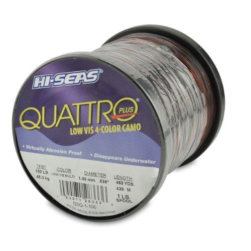 (Hi-Seas Quattro Monofilament Line, 4 Color Camouflage, 100 Pound Test, 1-Pound Spool)