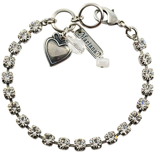 """Mariana Silver Plated Crystal Tennis Bracelet with Heart Pendant in Clear Crystal, 8"""""""