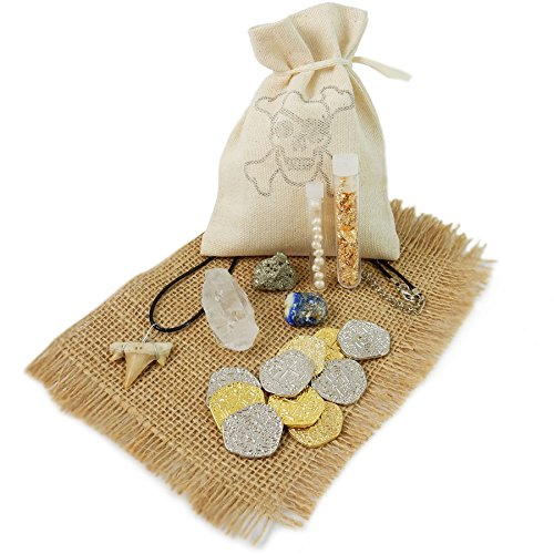 Pirate Treasure Pouch Set 17 Pcs Collection - 5 Gold / 5 Silver Pirate Coins, Shark Tooth Necklace, Pyrite Stone, 7 Pearls, Gold Flake Filled Vial, Crystal Quartz Point, Tumbled Lapis with COA