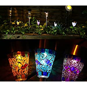 Solar LED Garden Lights Outdoor Stake Lights Solar Mosaic Pathway Lights Stainless Steel Landscape Lighting for Walkway Patio Yard Lawn Driveway Flowerbed Decoration 3 Color(purple/ orange/blue)