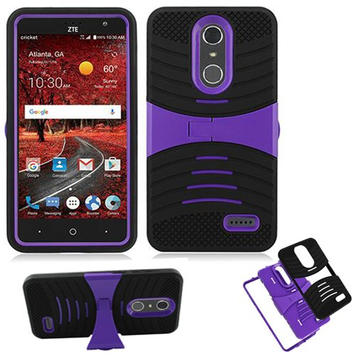Phone Case for ZTE Zmax-One LTE Z719DL / AT&T PREPAID ZTE Blade Spark / Cricket ZTE Grand X-4 LTE Rugged Heavy Duty Armor Cover Stand (Armor Black Skin-Purple Stand)