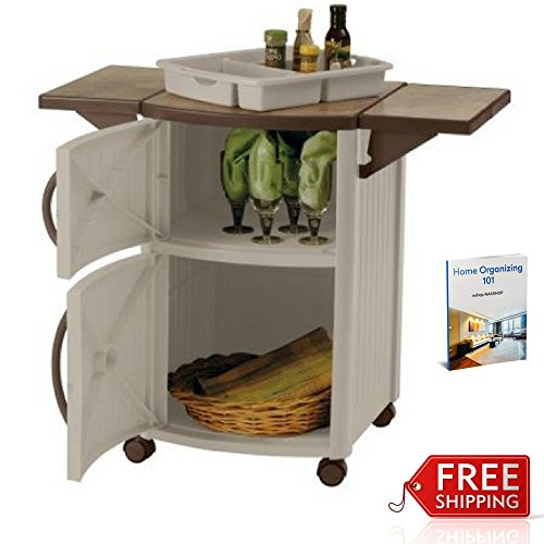 Beau Patio Prep Station Mobile Rolling Portable Outdoor Grilling Cart Barbeque  Serving Station Cabinet Bbq Resin Food