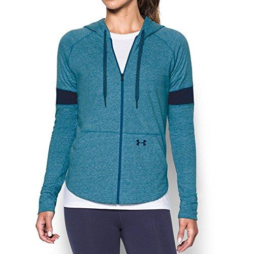 (Under Armour Women's Sportstyle Full Zip Hoodie, Bayou Blue (953)/Midnight Navy, Large)