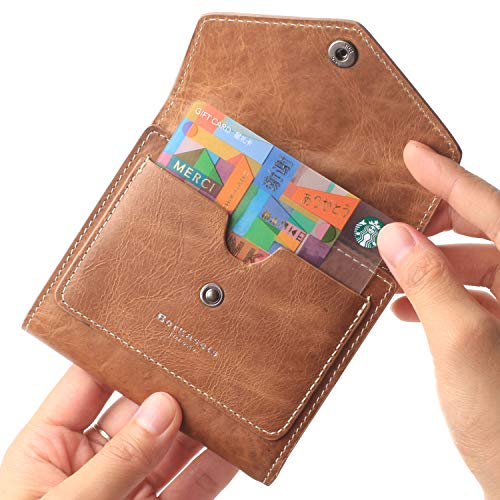 Borgasets Women's RFID Blocking Small Compact Bifold Leather Pocket Wallet Ladies Mini Purse (Oil wax - Brown Oil Dark