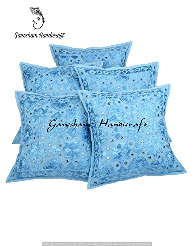 Blue Floral Bedroom Cotton Pillow Cover , Bohemian Throw Pillow Insert Hand Embroidered Decorative Mirror Work Boho Sofa Pillow Home Decor Handmade Cushion Cover, 16x16 inch (Set of 5 Piece) by GANESHAM