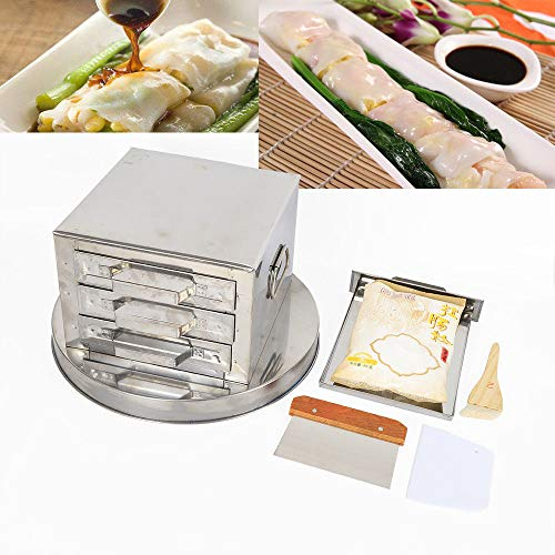 Kitchen Food Steaming Equipment Steamer Rice Noodle Roll Machine With 3-Drawers