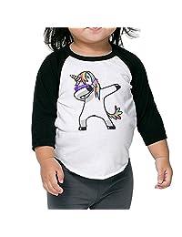 Dabbing Unicorn Unisex Kids Raglan 3/4 Sleeve Baseball T Shirt Top Cotton