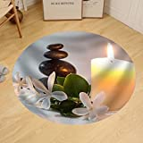 Gzhihine Custom round floor mat Tiare Flowers Candle and Black Stone Spa