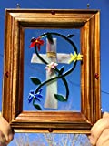 Cross Stained Glass Window Art Sun Catcher, Christian Art