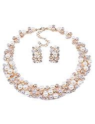 Qiyun Multi-Row Strand Pearl Beaded Torsade Bib Choker Collar Necklace Earrings Set Multi-Lignes Brin Perle Torsade Collier