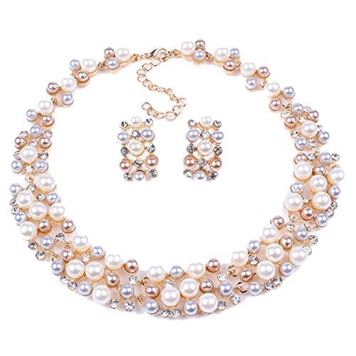 QIYUN.Z Multi-Row Strand Pearl Beaded Torsade Bib Choker Collar Necklace Earrings Set -