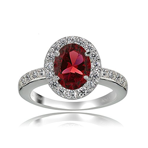 Created Garnet Stainless Steel Ring - Sterling Silver Created Ruby and White Topaz Oval Halo Ring (7)