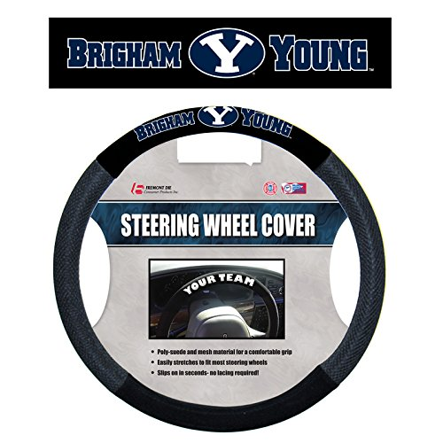 Fremont Die NCAA Brigham Young Mesh Steering Wheel Cover, One Size, Multicolor