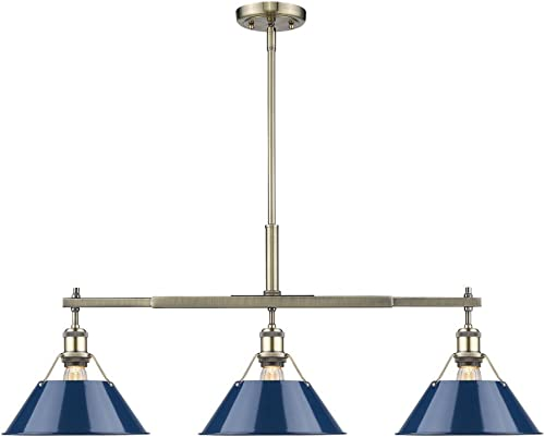 Golden Lighting 3306-LP AB-NVY Orwell Linear Pendant, Aged Brass with Navy Blue Shade